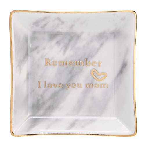 HOME SMILE Ceramic Ring Dish with Marble Pattern Decorative Trinket Plate -Remember I Love You Mom-Birthday Gifts for Mom