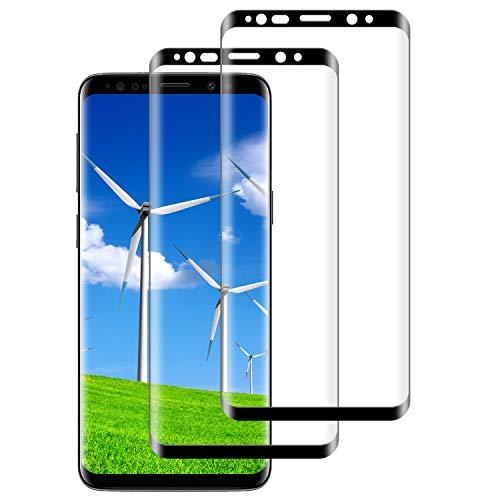 DASFOND Protector Pantalla para Samsung Galaxy S8+/S8 Plus, [2 Piezas] Cristal Templado Galaxy S8 Plus,[3D Cobertura Completa] [9H Dureza] [Sin Burbujas],HD Transparente Resistente Arañazos- Negro