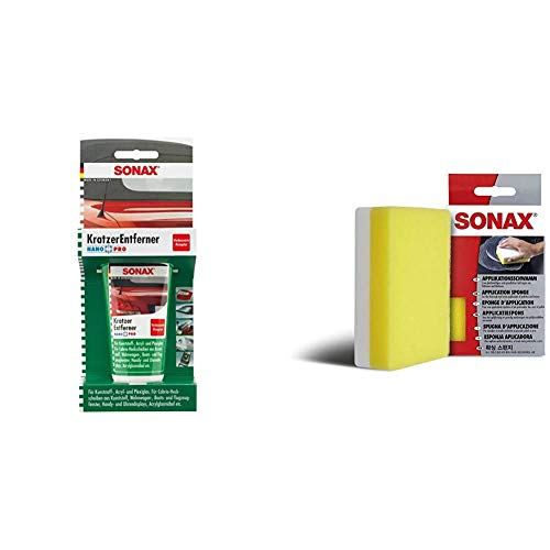 SONAX KratzerEntferner Kunststoff NanoPro (75 ml) zur Entfernung von Kratzern und Blindstellen & ApplikationsSchwamm (1 Stück) zum Auftragen und Verarbeiten von Polituren, Wachsen etc.