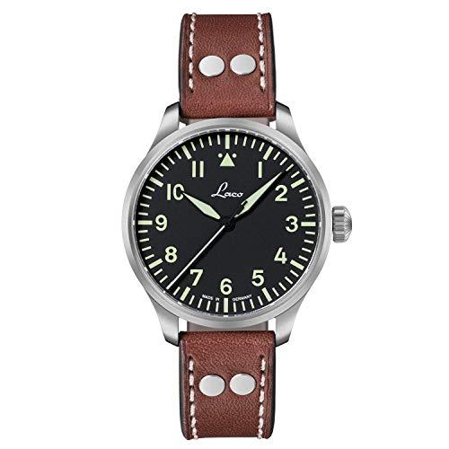 Laco Armbanduhr Fliegeruhr Basis Augsburg, Ø 39mm, hochwertige Automatikuhr, Einzigartige Qualität, 5 ATM Wasserdicht, Zeitloses Design – seit 1925 (Damen, Braun)