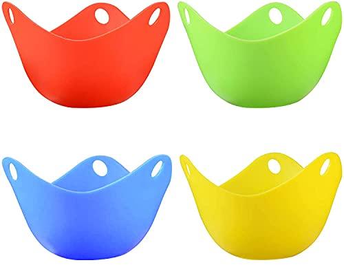 Set di 4 tazze per uova in camicia, in silicone, senza BPA, per forno a microonde o stufa, per cuocere uova in camicia, in camicia, in silicone, senza BPA