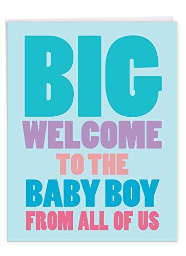 NobleWorks - Newborn Baby Boy Greeting Card (8.5 x 11 Inch) - Bold Letters Congrats Card, Baby Shower - Big New Baby Boy J6854BBG-US