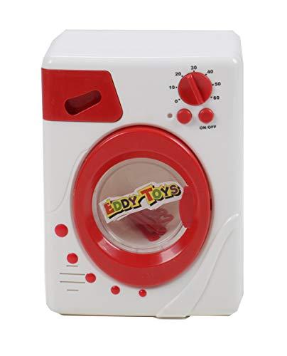 Eddy Toys Kinder Waschmaschine, Spielzeug mit Licht und Ton, 3 Kleiderbügel, rotierende Trommel, Betriebsleuchte, Waschmittelfach