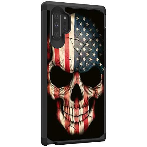 TurtleArmor Schutzhulle fur Samsung Galaxy Note 10 Plus 68 ZollNote 10 Schutzhulle N975 schlankes Design Doppellagiges TPU US Flag Skull