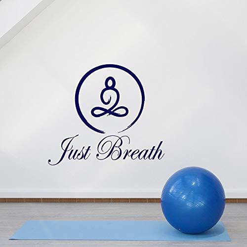 WERWN Solo Respira calcomanía de Pared Cita Redonda Enso Yoga Pose Lotus meditación Sala Gimnasio decoración Interior Puerta Ventana Vinilo Pegatina Arte