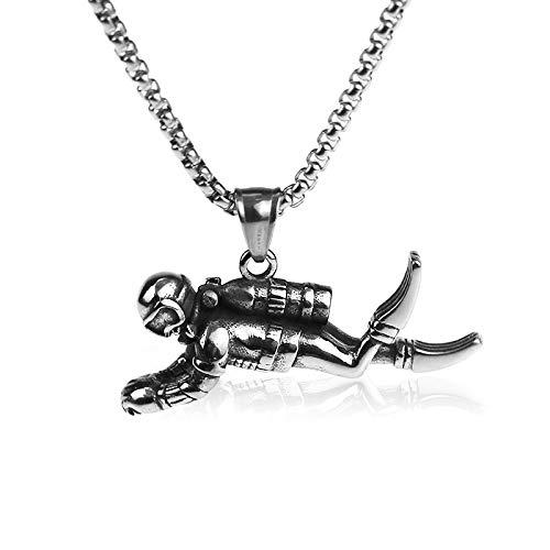 DADATU Punk-Stil 316L Edelstahl Halskette 3D Taucher Anhänger Charm Halskette Rock Hip Hop Schmuck Paar Geschenk Nicht verblassen Box Kette