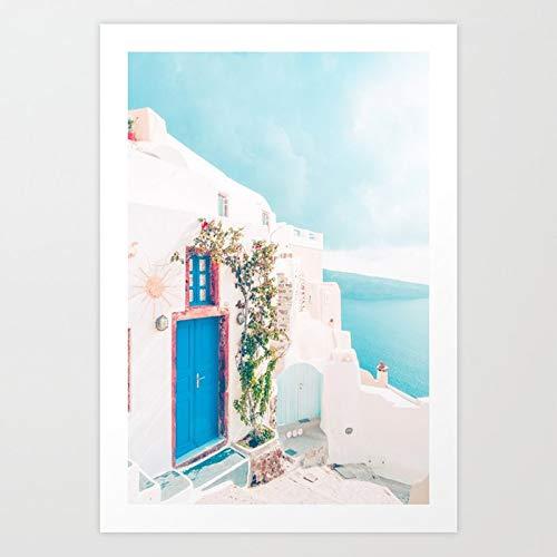 Puzzle 1000 piezas Santorini Grecia Cómodo Blush Pink Peach Blanco Fotografía de viaje puzzle 1000 piezas paisajes Juego de habilidad para toda la familia, colorido juego de u50x75cm(20x30inch)