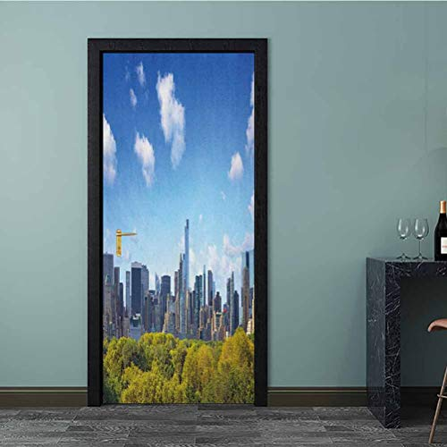 Homesonne 3D Door Stickers Decal Manhattan Skyline with Central Park in New York City Midtown High Rise Buildings Door Decorative Wall Stickers Easy-to-Clean, Durable Blue Green Ivory 91.5x200.7 CM