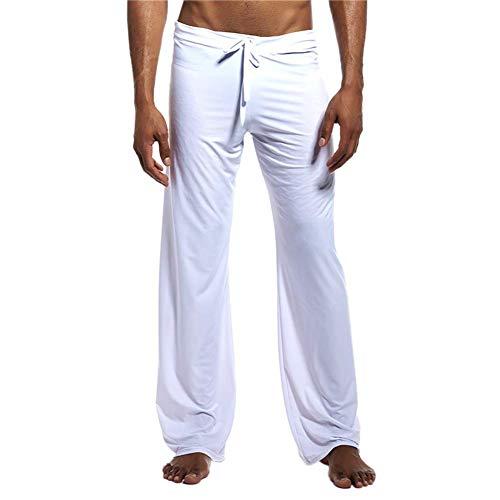 Zijde Yoga Broek voor Mannen, Heren Lange IJs Zijde Harem Yoga Pilates Broek Lounge Broek Slaapmode Bodem met Elastische Trekkoord