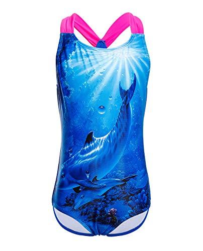 iDrawl Sommer Schwimmanzug Mädchen Badeanzüge Blau Delphin Druck Swimsuit Strandwear,Größe L