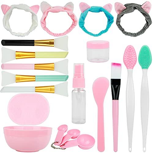 Maskenpinsel Set,5 Stück Silikon Maskenpinsel und 4 Stück Haarbänd ,DIY Gesichtsmaske Rührschüssel Set und 2 Stück Nase Lippenbürsten Werkzeug,Beauty Produkte für DIY Maske oder Reinigungsmaske