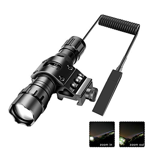 Tactical Flashlight 1200Lumens Zoomable Super Bright LED Hunting Light Waterproof with Rechargeable Battery, Pressure Switch, Picatinny Offset Mount for Shooting Camping Outdoors