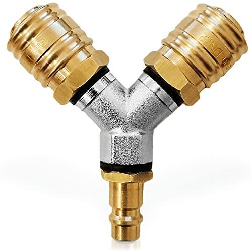 Sylion Druckluftverteiler Druckluftkupplung und Dichtungsringen fertig montiert Druckluftweiche aus rostfreien Messing