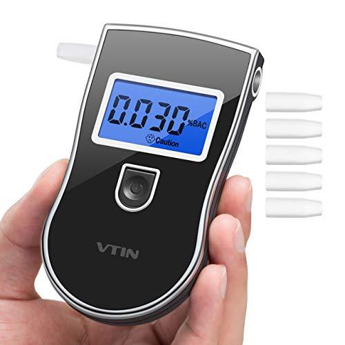 Vtin TST-VN Electronique Haute Sensibilité, Ethylotest Homologué Affichage Précise 3 Unités avec Écran LCD, Alcootest 5 Embouts Supplémentaires Modèle CE19