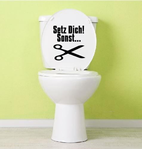 Dinger-Design Aufkleber Toilette Klo Klodeckel Toilettendeckel Setz Dich! sonst. 21,5 x 20 cm