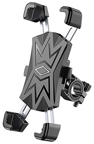 Bovon Bike Phone Mount with 4 Stainless Steel Clamps, Anti-Shake & Stable & 360 Rotation Motorcycle Phone Mount Holder Compatible with iPhone 12 Pro Max/12 mini/11 Pro/XR/8-4.5''to 7.2'' Phones