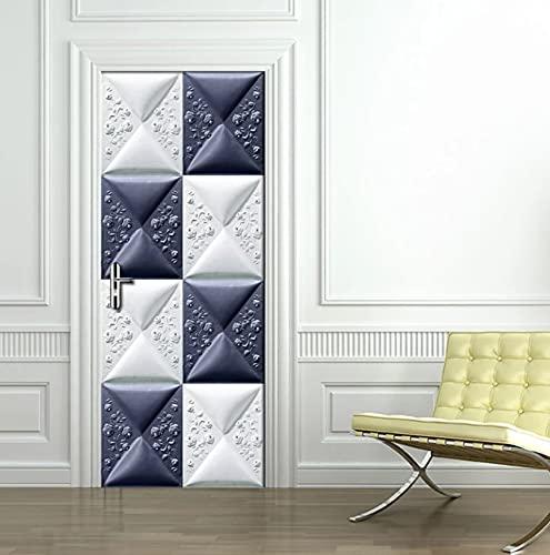 PVC Selbstklebender Türaufkleber 3D Stereoscopic Relief Lattice Moderne einfache Kunst Wohnzimmer Schlafzimmer Tür Home Decoration Aufkleber 77 * 200cm