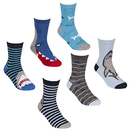 6 Paar Socken mit Hai-Motiv, Baumwolle Gr. S, mehrfarbig