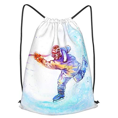 Eishockey-Rucksack für den Winter, mit Kordelzug, ein leichter Rucksack, geeignet für Basketball und Indoor-Gymnasien.