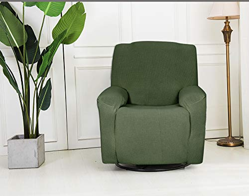 Sapphire Home Recliner Chair SlipCover Shield, Form-fit Stretch, Wrinkle Free, Protector Cover, Remote Pocket, Polyester Spandex Fabric, Checked Pattern Non-Slip, Recliner Sage/Green