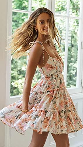 Mujer Vestido Bohemio Corto Floral Verano Vestido Sexy Vestidos de Tirantes Playa Naranja M