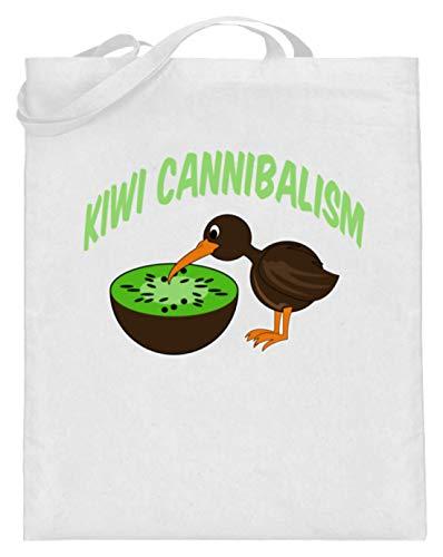 SPIRITSHIRTSHOP Kiwi Cannibalism - kiwivruchten en kiwivogel - jutezak (met lange handvatten)