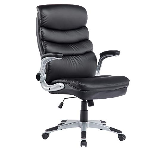 Ergonomic Executive Office Chair High Back PU Leather Computer Chair (C-Black)
