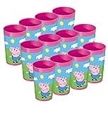 Peppa Pig - Juego de 12 vasos de plástico para niños (250 ml)
