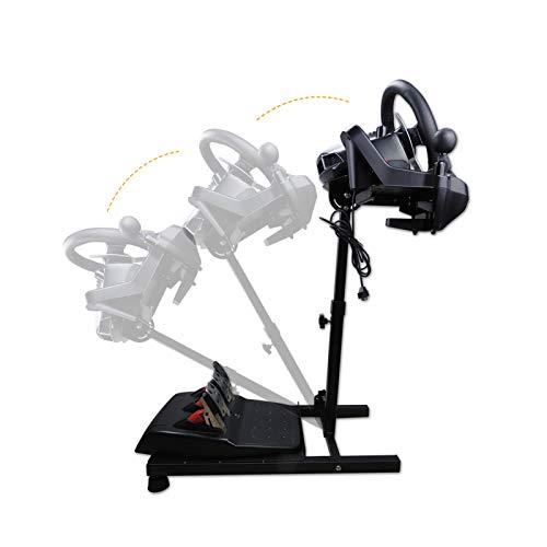 Racing Wheel Stand レーシングホイールスタンド コンパクト型 収納しやすい Logitech G25/G27/G29/G920, T60/T80/T100/T300rs/TX/TMX Most Thrustmaster対応 ハンドル スタンド ギアシフター用マウント セット レーシングホイールフレーム レーサーシミュレーター ステアリングコントローラー PS4/PS5/XBOX ONE/XBOX 360/PC