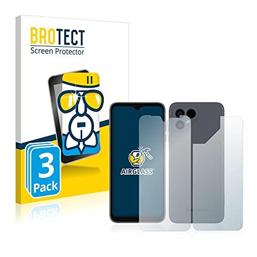 BROTECT Panzerglas Schutzfolie kompatibel mit Fairphone 4 (Vorder + Rückseite) (3 Stück) - 9H Extrem Kratzfest, Anti-Fingerprint, Ultra-Transparent