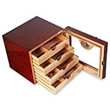 NKIE Storage Humidor, Wooden Humidor, Humidor Cabinet, Portable Humidor, Hygrometer, Cigar Humidor, Can Hold About 75 Cigars Convenient (Color : Red)