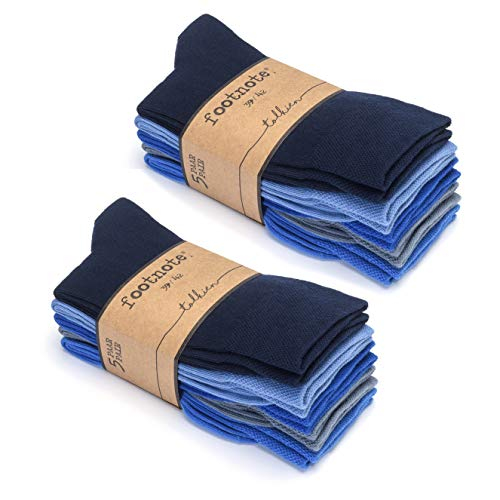 FOOTNOTE Herrensocken Damensocken Socken Herren Damen Baumwollsocken Socks Business, 39-42, Blautöne 10 Paar