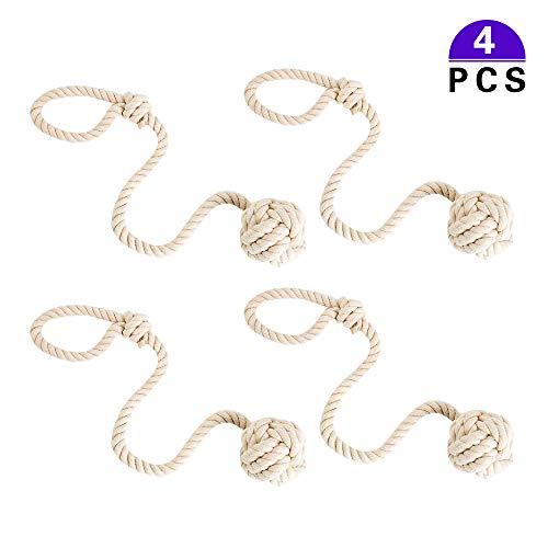 Vorhang Raffhalter 4 Stück Handstricken Schnalle Baumwoll Seil mit Ball Beige Vorhanghalter Tiebacks für Haus Dekoration