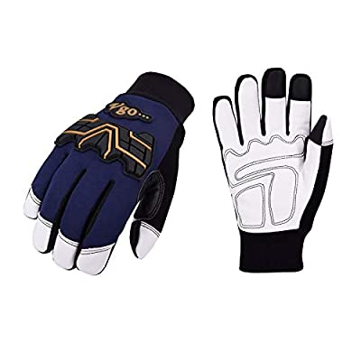 Vgo 2-Pairs 32? or above 3M Thinsulate C40 Winter Goatskin Leather water repellent Anti-abrasion, Impact Work Gloves (Size XL, Dark Blue, GA2458FW)