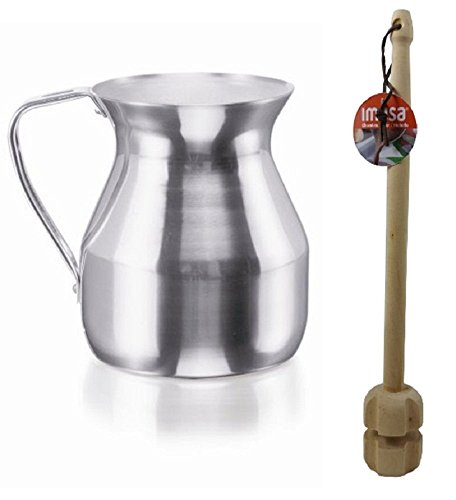 Imusa Aluminum Hot Chocolate Pitcher (Chocolatera) 2Qt. Bundled with a Wooden Chocolate Mixer - Molinillo 14' 1-Goya Foods Luker Chocolate (Amargo), 8.8 - Ounce