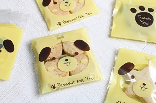 【Fuwari】 アニマル 動物 袋 小袋 お菓子 チョコレート クッキー キャンディー ラッピング バレンタイン 100枚 包装袋 小分け プレゼント アニマルM1 (�B)