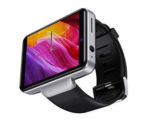 """DM101 4G Smart Watch for Men 2.41"""" Display Android 7.1 3GB RAM 32GB ROM 2080mAh Watch Phone with Face ID Dual Camera Bluetooth GPS IP67 Waterproof Smartwatch (Silver)"""