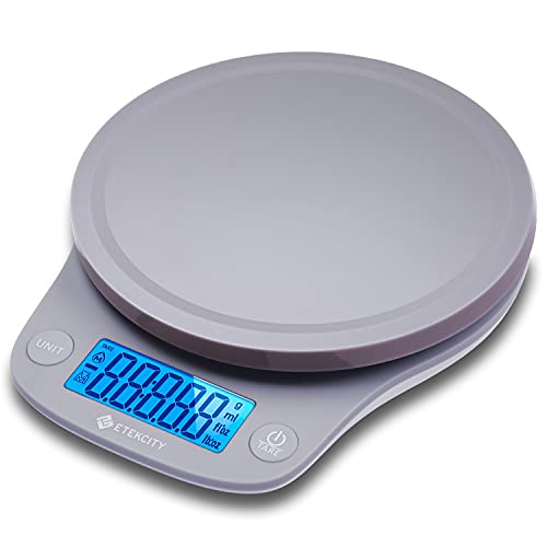 Etekcity 0.1g Food Kitchen Scale, Digital Ounces and Grams for Cooking, Baking, Meal Prep, Dieting, and Weight Loss, 11lb 5kg, Gray