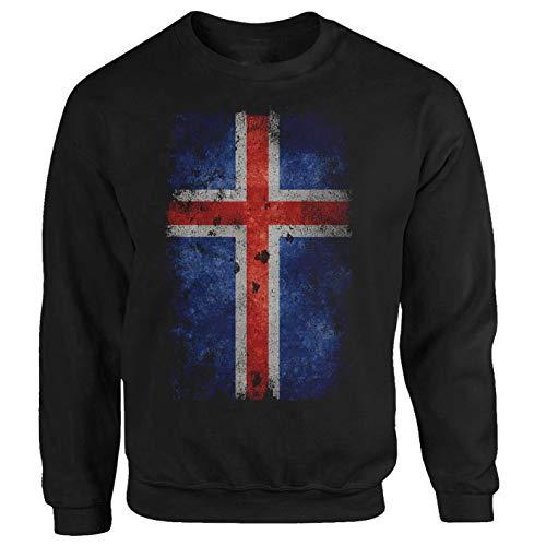 Island Flagge Fahne Viking Skandinavien Tourist Travel Reise schwarz Sweatshirt Pullover Hoodie M