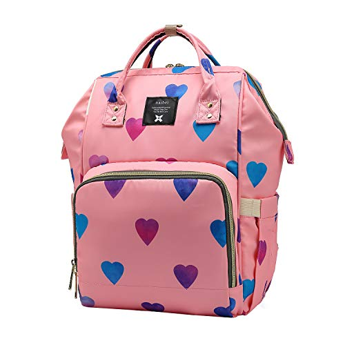 of baby lovess baby bags for moms Cute Heart Printed Diaper Bag Backpack for Mom Dad, NaOHshp Baby Care Waterproof Nappy Bag
