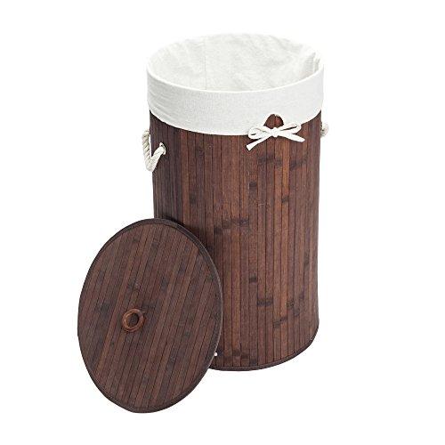 KepooMan Laundry Hamper Bamboo Barrel Type Foldable Storage Laundry Basket Dirty Clothes Organizer Hamper with LidRemovable Cotton LinerHandlesDark Brown