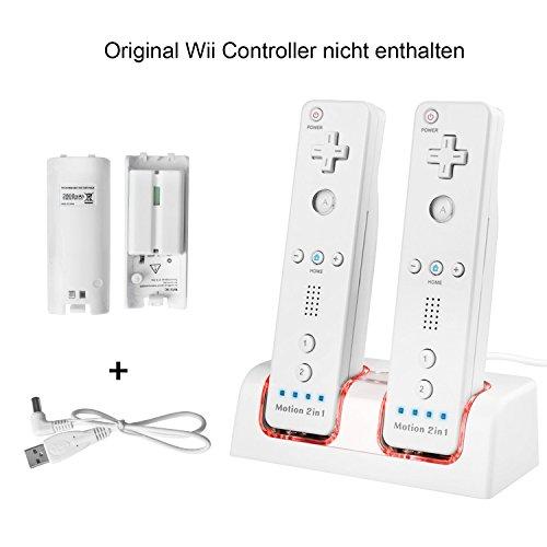 TechKen Wii Fernbedienung Ladegerät Set,Wii Ladestation Wii Remote Docking Aufladestation mit 2 x 2800mAh Akku für 2 STK Wii Controller