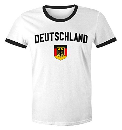 Klassisches Herren WM-Shirt Deutschland Flagge Retro Trikot-Look Fan-Shirt weiß-schwarz M