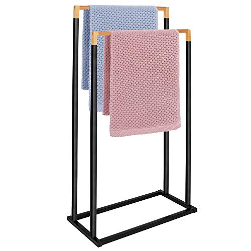 SPRINGOS Toallero de pie con 2 barras para toallas, para baño, accesorio de baño para toallas, para ropa, metal, bambú (negro – 2 barras)