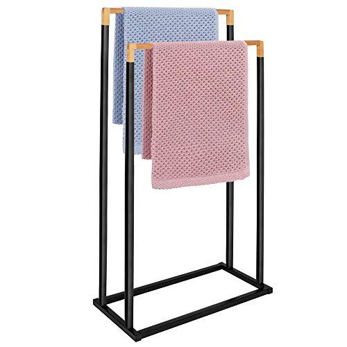 SPRINGOS Handtuchständer mit 2 Handtuchstangen freistehend für Badezimmer, Badaccessoire für Handtücher, für Kleidung, Metall, Bambus (Schwarz - 2 Handtuchstangen)