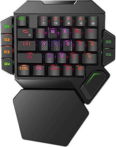 Bradoner 35 Tasten RGB Einhandig Mechanical Gaming Keyboard Bunte Hintergrundbeleuchtung Professioneller Gaming Tastatur Mit Handgelenkauflage Unterstutzung USB Kabel Mechanische Tastatur for Spiel