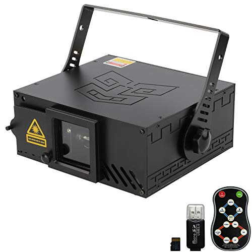 Indoor Stage Lights Scanner Beam Animation Effect Party Light Sound Activated Projector Lighting with TF Card Remote Controller 14CH DMX Sound Control for DJ Club Party Show Halloween