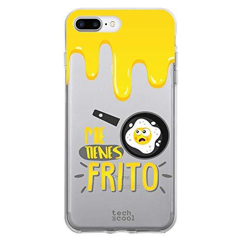 Funnytech® Funda Silicona para iPhone 8 Plus [Gel Silicona Flexible, Diseño Exclusivo] Frase Me Tienes Frito Transparente Vers.1