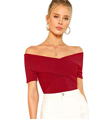 DIDK Damen Schulterfrei Crop Shirts Einfarbig Slim T-Shirt Kurzarm Oberteile Tops Sommershirts Kurzarmshits Elegant Blusen Rot M