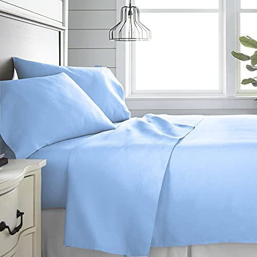 Monkey House | Set completo letto tinta unita, Made in Italy, 100% cotone – singolo, matrimoniale, una piazza e mezza (Azzurro, Singolo)